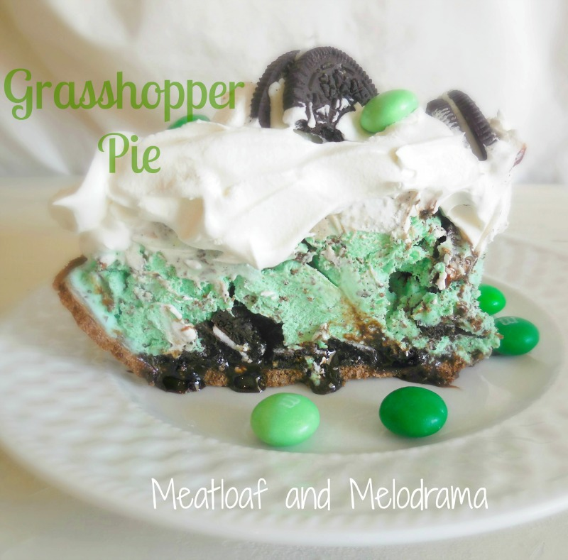 grasshopper pie made with mint ice cream and oreos