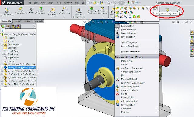 component properties large assembly solidworks