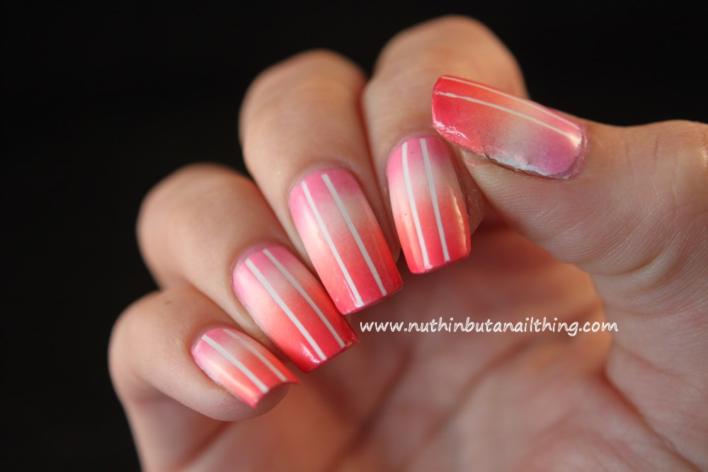 Coral striping tape gradient nail art