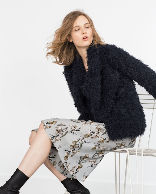 zara fur coat, zara black fur coat,