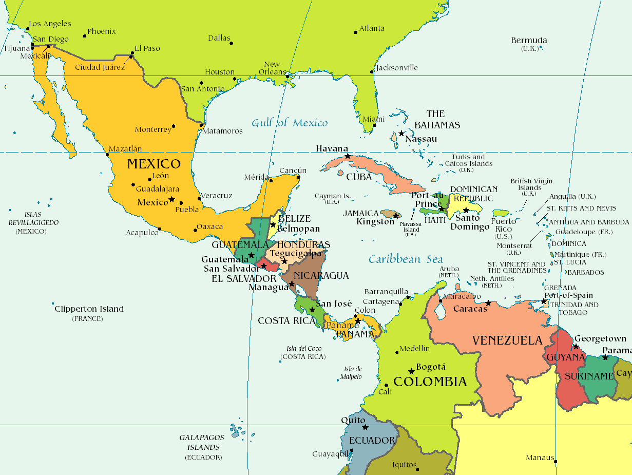 Mapa Politico De America Del Centro