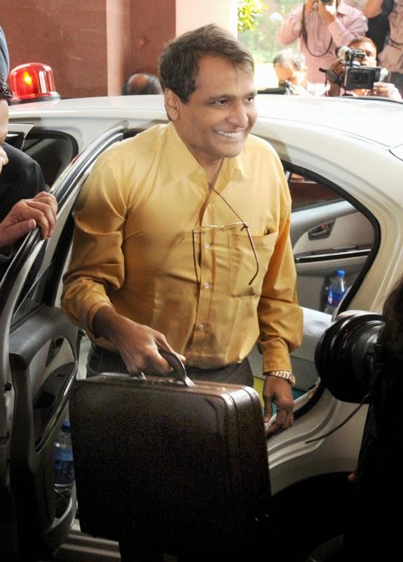 Railway budget: Railway Minister Suresh Prabhu arriving to Parliament