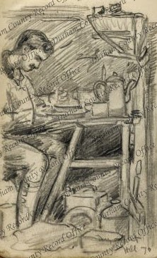 Drawing of a soldier by Private T McCree, possibly Captain Pickering, at a table in a dugout, eating, Hill 70, France, [1917] (D/DLI 7/956/3(41))