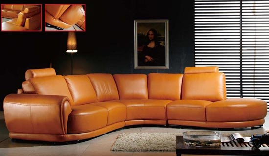 Brown Leather Sectional Sofa Living Room (5 Image)