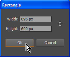 Specify dimensions in rectangle dialog in Adobe Illustrator
