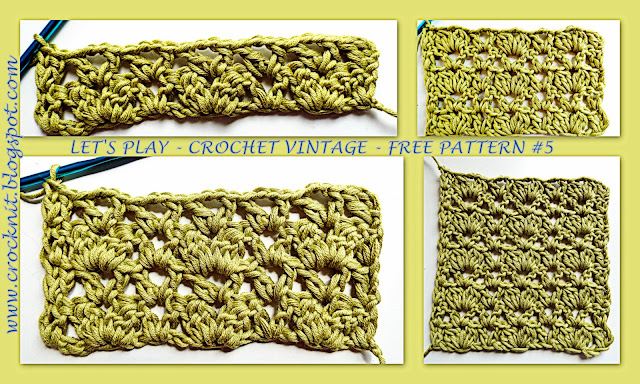 free crochet patterns, vintage, clusters, v-stitch, how to crochet
