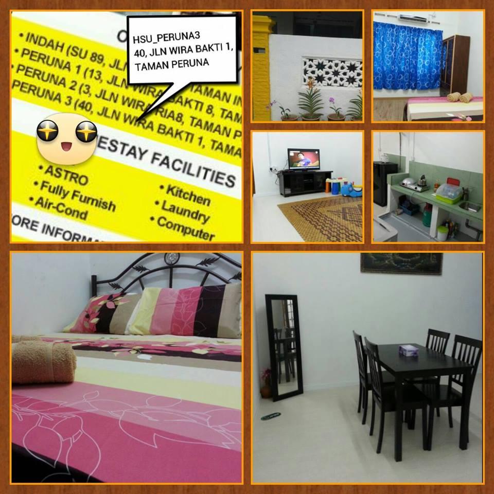 Lokasi No 40 Jalan Wira Bakti 1Taman Peruna 76300 Sungai Udang Melaka Kemudahan 1 Bilik Aircond Kipas Katil Queen
