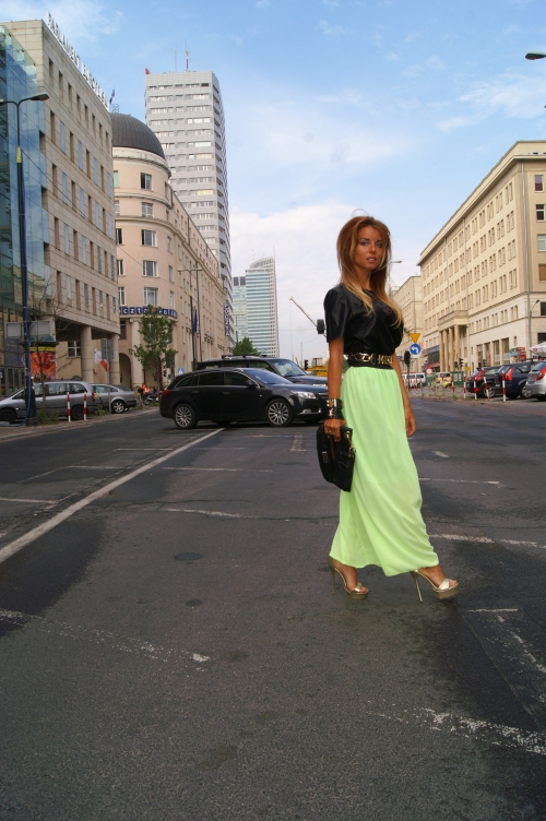 moschino belt and lime skirt