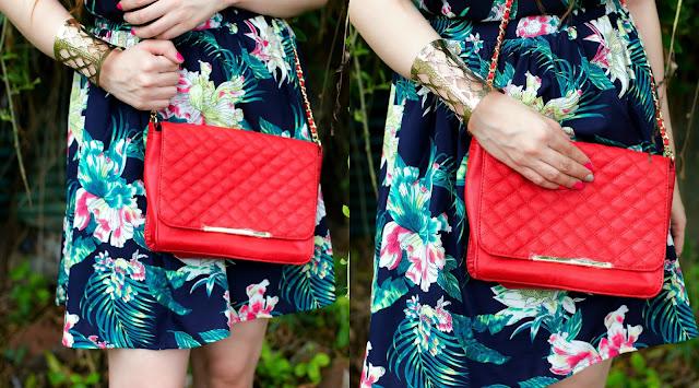 VERO MODA Floral Top, Floral Skater Skirt, VERO MODA Orange Quilted Bag,