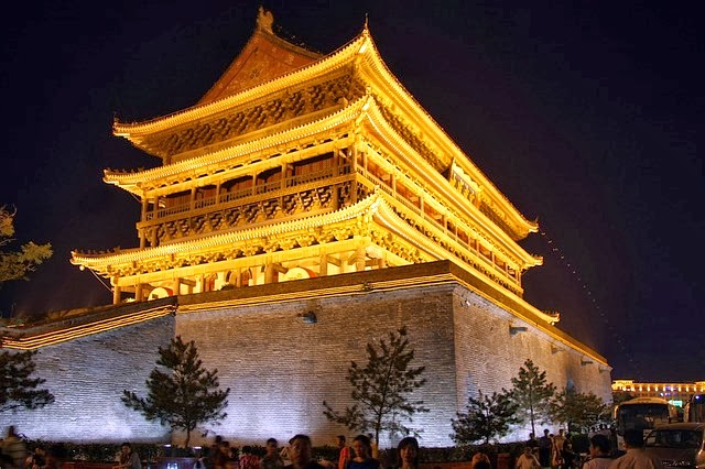 Drum Tower at night, Centre of Xian