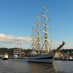 Russian Tallship Mir following the RV Keary