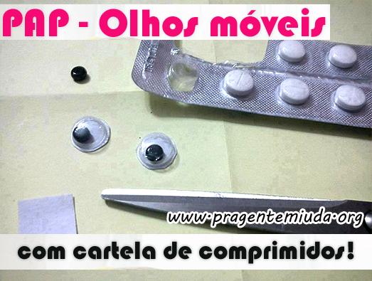 Como fazer olhos móveis com cartela de comprimidos