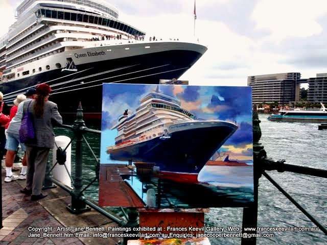 oil painting of the Queen Elizabeth super liner  docking at Circular Quay  Sydney Harbour by artist Jane Bennett