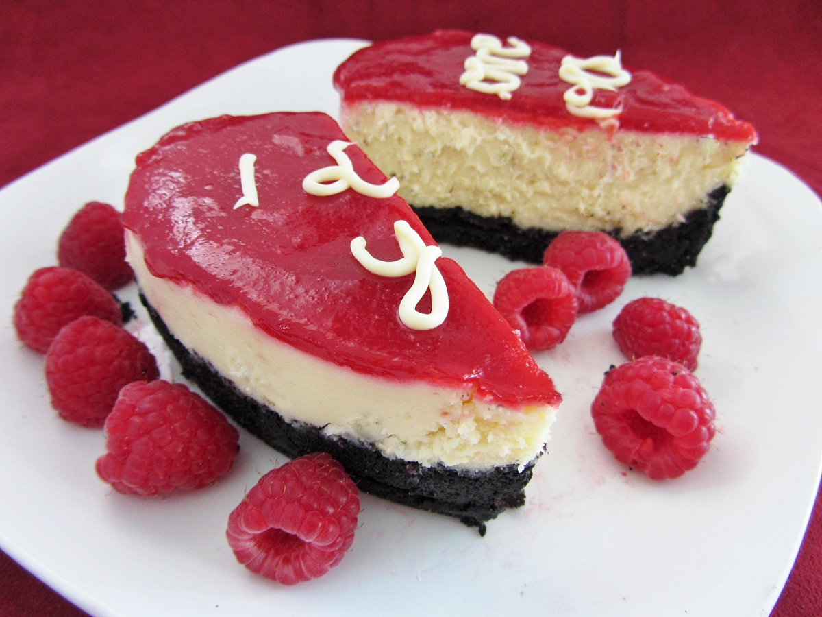 mini heart shaped raspberry white chocolate cheesecake