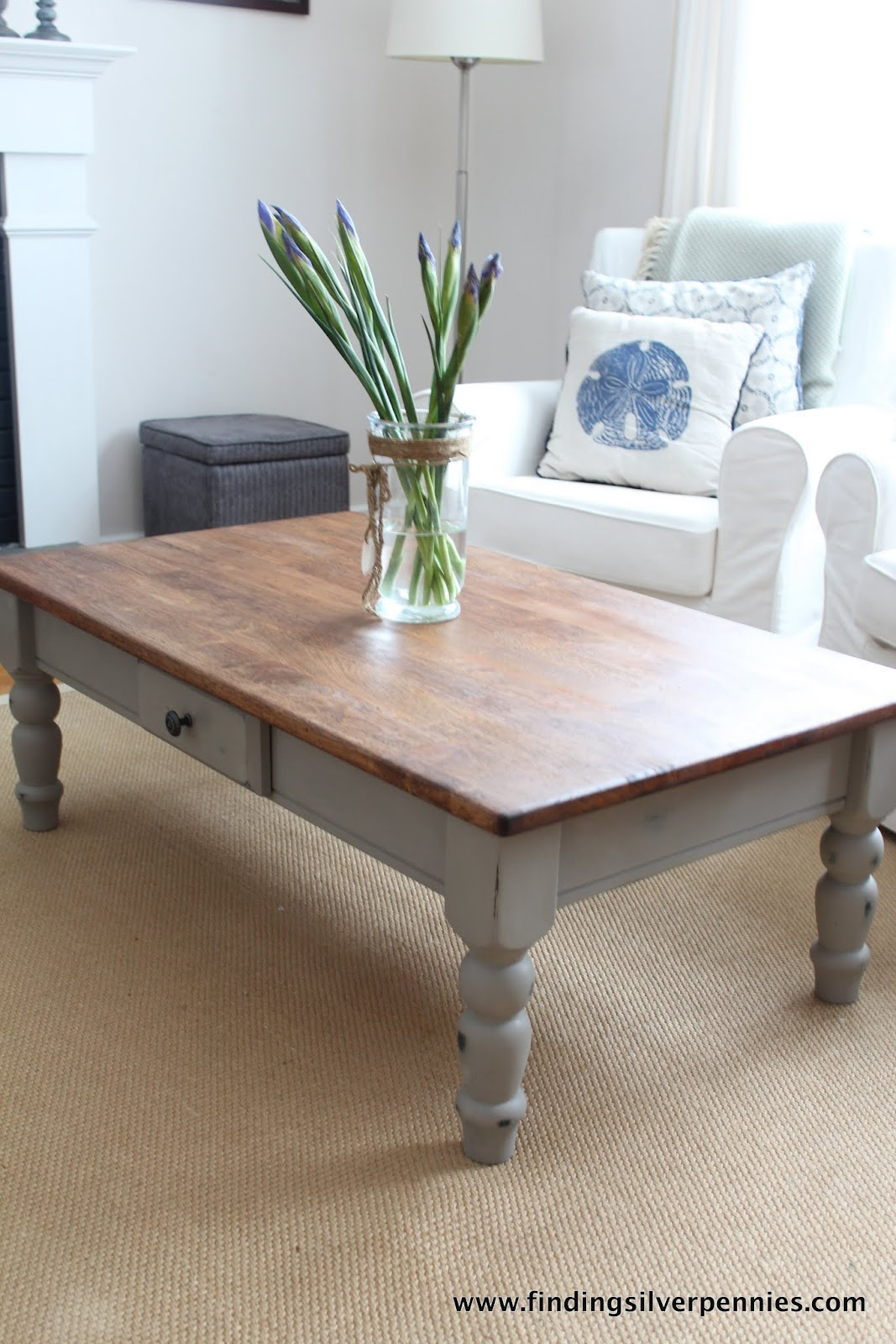 French linen coffee table finding silver pennies for Perfect colored coffee tables ideas