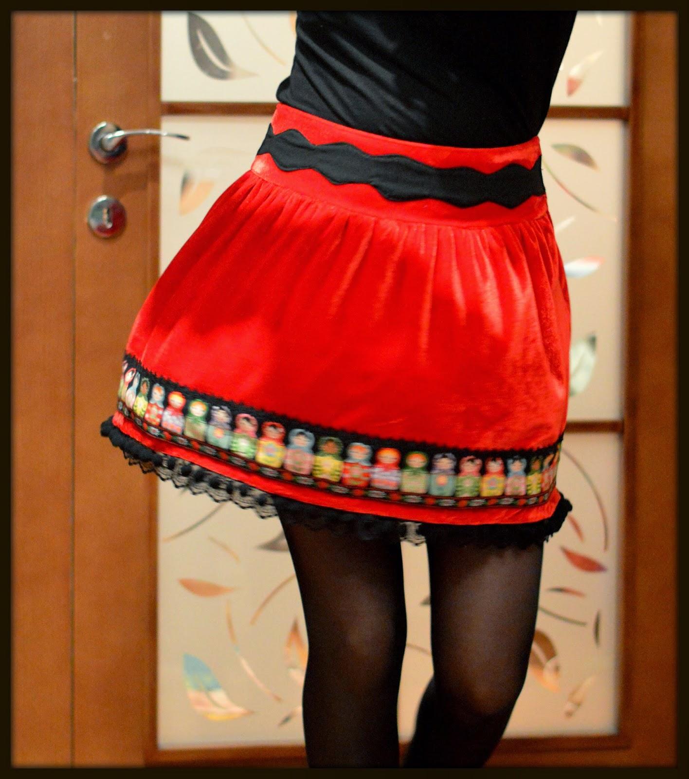 lace tape, matryoshka doll, pom poms tape, red velvet, ribbons applique, skirt, lace hem, decorated waistband, twirl