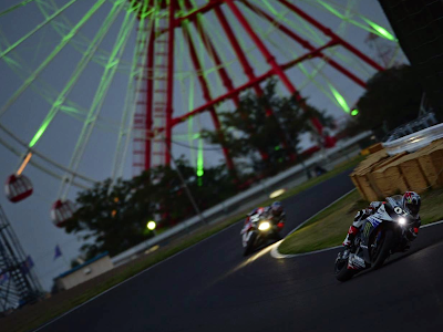 Suzuka 8 hours Night Time Superbike Sliding around turn