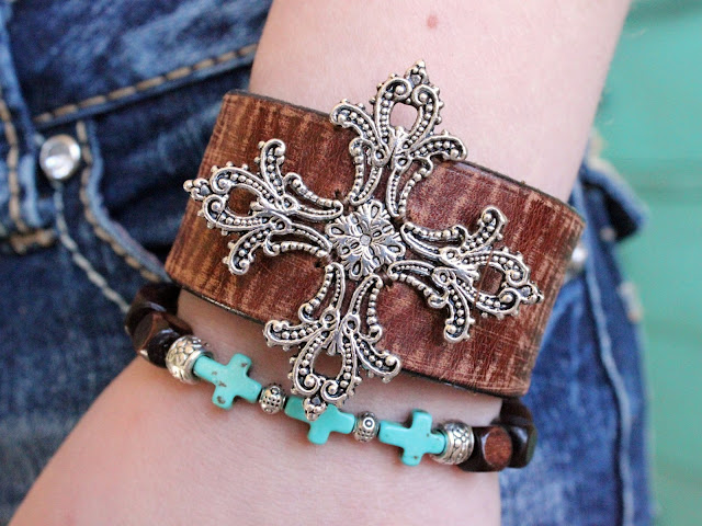 Leather Cuff Belt Cross Bracelets Stacked Arm Party Rocker Chic Bohemian Boho Layered