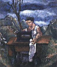 Mujer cosiendo en el Valle
