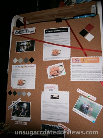 corkboard showing media and blog exposure of B. Wings