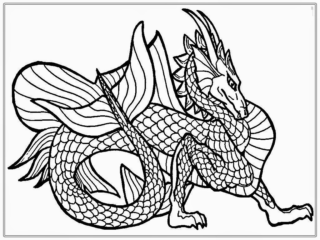 Coloring Pages Dragons : Chinese dragon adult coloring pages realistic