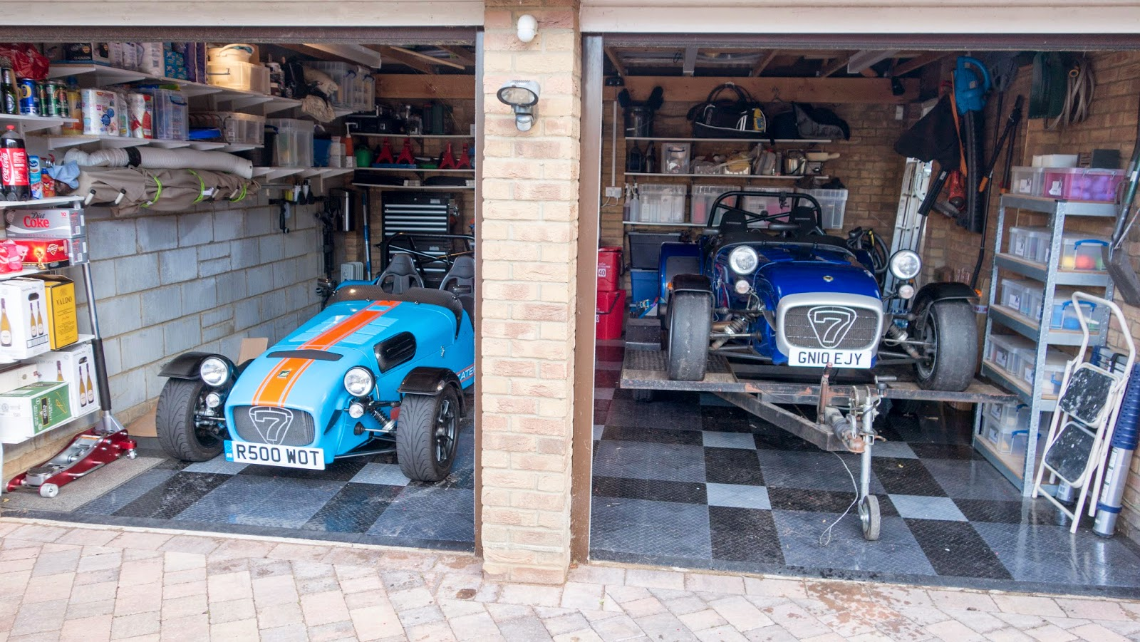 Caterham R500 and R300 Duratec's parked in my garage.