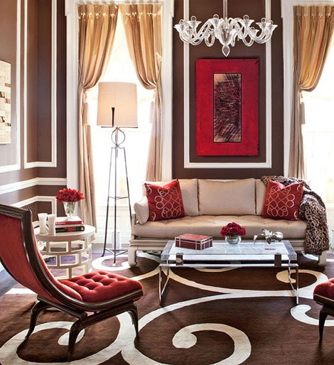 bold chocolate brown and red living room