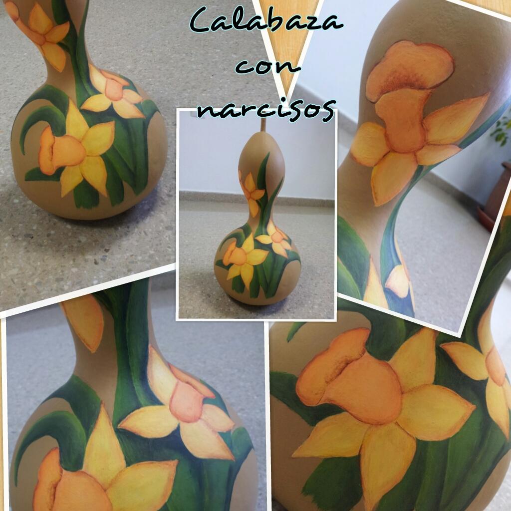 Manualidades el blog de mis alumn s calabaza con narcisos - Calabazas decoradas manualidades ...