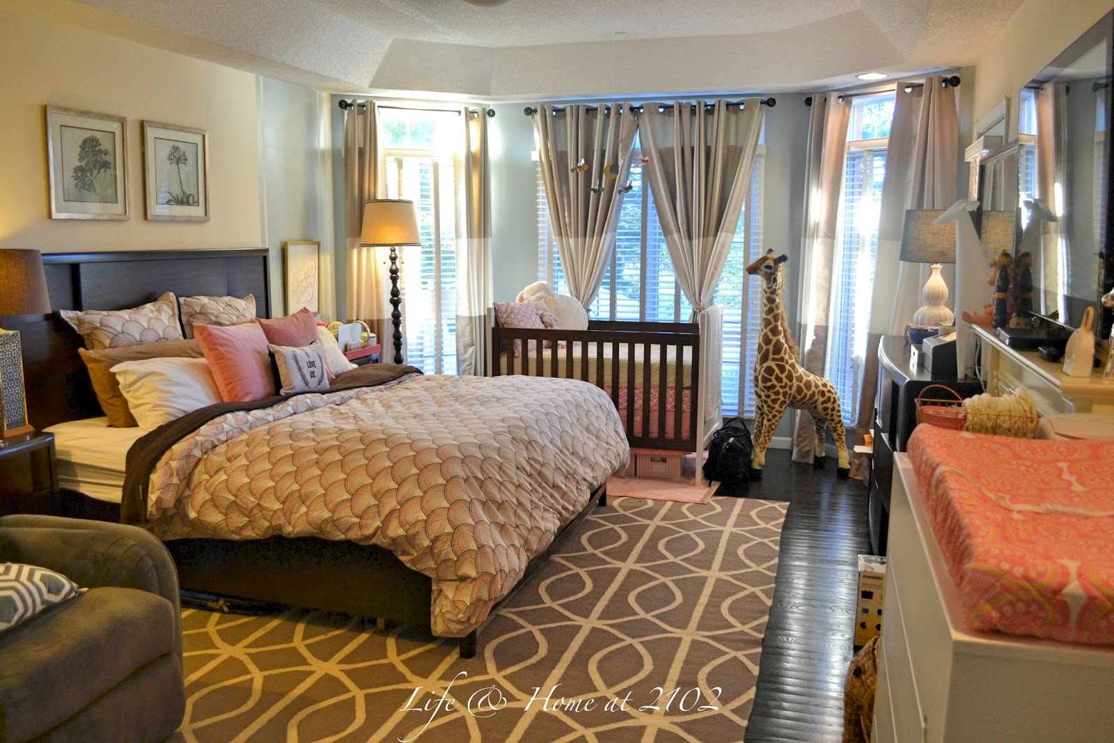 Life home at 2102 final touches in the master bedroom nursery Master bedroom with nursery ideas