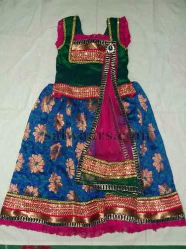 Royal Blue Floral Kids Skirt