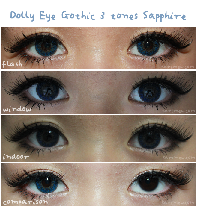 3 Tone Natural Blue Lenses for Brown Eyes: Dolly Eye Gothic 3 Tones Saphire