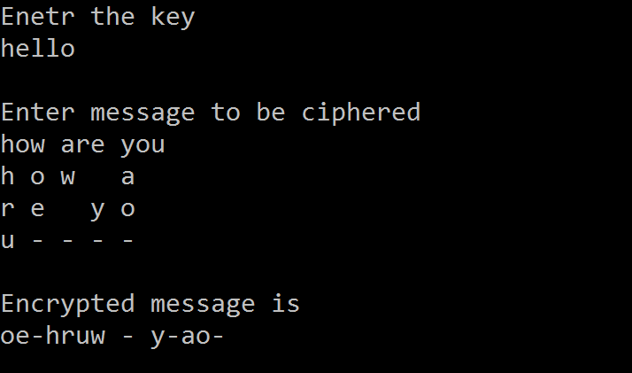 C code to encrypt and decrypt a message using Transposition Cipher