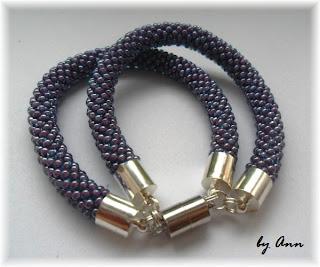 węże koralikowe bransoletka podwójna fiolet
