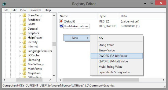 Disable Animations Office 2013