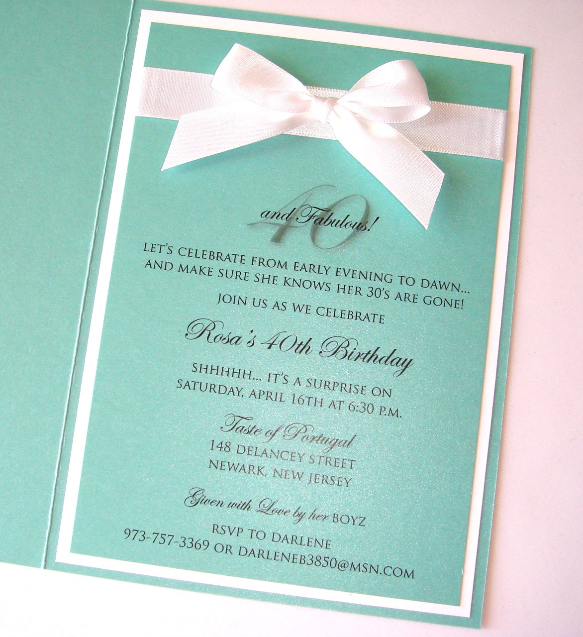 Custom Tiffany Style 40th Birthday Invitation