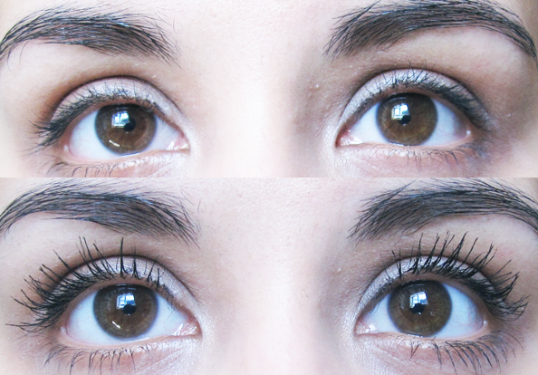 A picture of Bourjois Volume 1 Seconde Mascara on eyelashes before and after