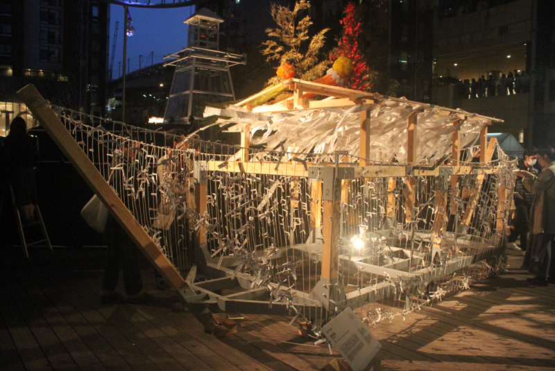 Mark Salvatus, 'Shipments', 2013, wood, rope, paper, light, steel, Roppongi Art Night, Tokyo, Japan. Image courtesy the artist.