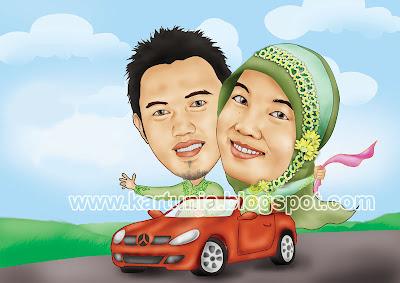 wedding karikatur naik mobil