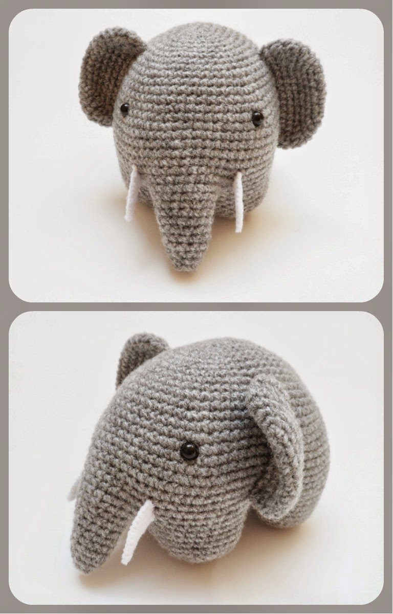 Free Crochet Amigurumi Puppy Pattern : Elephant Applique Crochet Pattern Video Tutorial Free ...