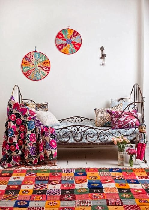 patchwork quilt, jaipuri razai, daybed, bottle with flowers, keys on wall