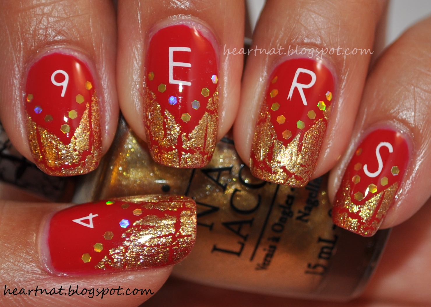 Heartnat Red And Gold 49ers Nails