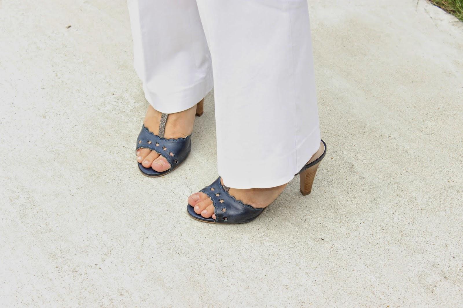 Chaussures étoiles Kookai, veste blanche mango, top see u soon