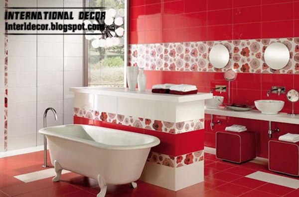 modern red bathroom tiles designs ideas with patterned tiles