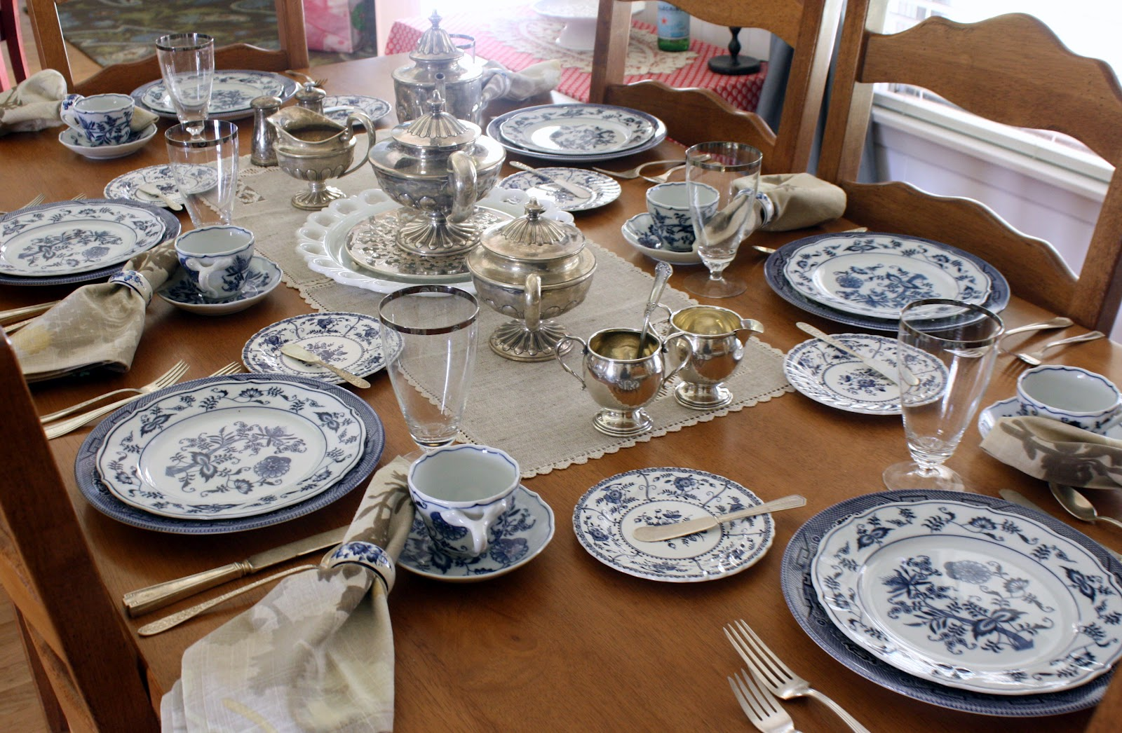 I used my momu0027s wedding crystal my grandmotheru0027s silverware Blue Willow plates and Blue Danube luncheon plates Indies Blue bread plates my grandmotheru0027s ... & Life with the Mozas: Jane Becker Wallace--my memories in a tea set