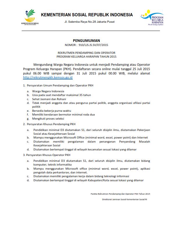 rekrutment kementerian sosial