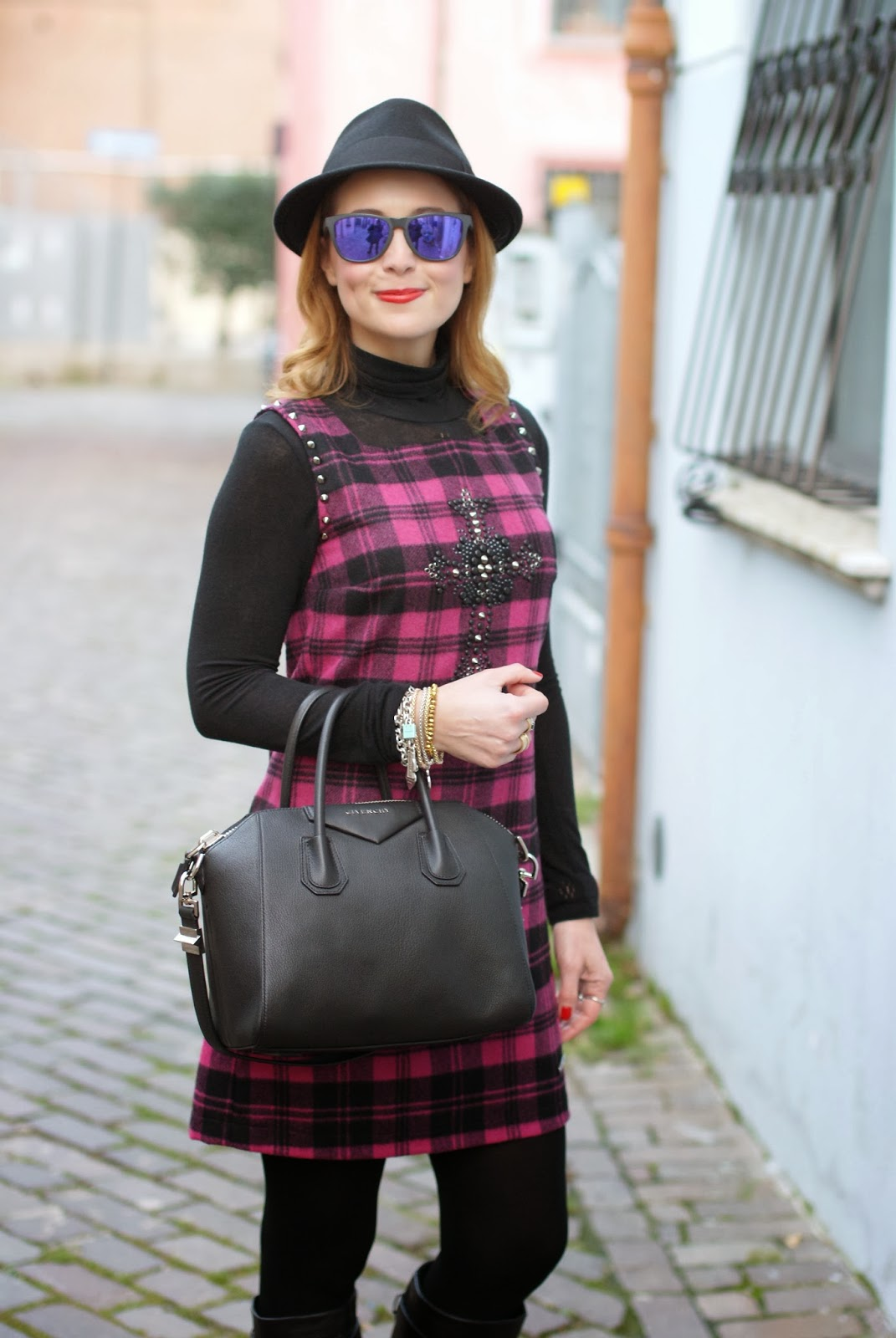blugirl folies check dress, tartan dress, givenchy antigona, Fashion and Cookies, fashion blogger