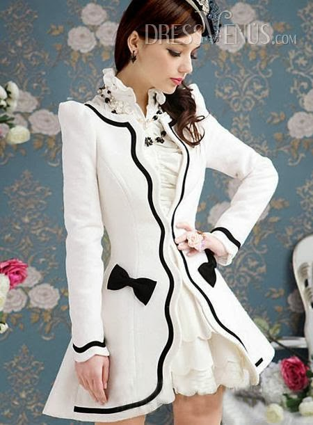 Gorgeous Sweet Slim Bowknot Split Joint Overcoats
