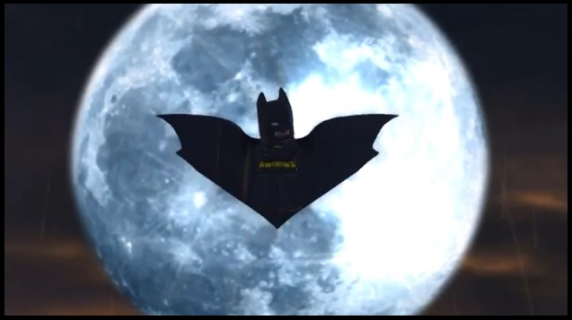 "Batman in front of the moon in Wii U version of ""LEGO Batman 2: DC Super Heroes"