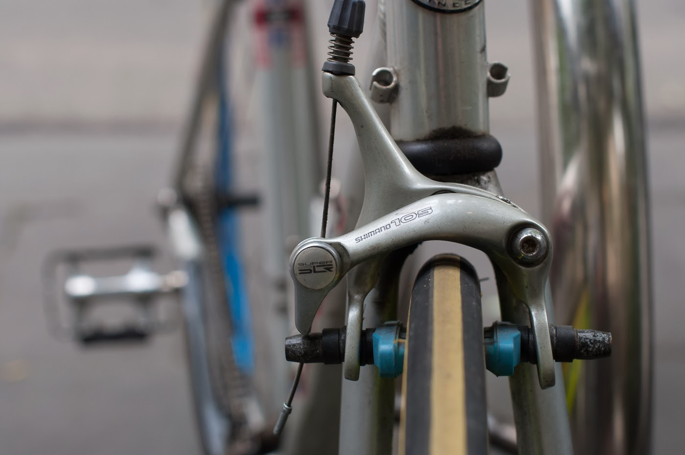 single speed, bike, bicycle, tim macauley, the biketorialist, melbourne, road bike, conversion,  custom, swanston St, giant, tcr, front brake, side pull, shimano 600,