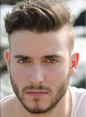 model potongan rambut side shaved pria berjanggut